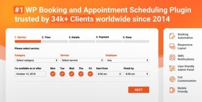 Bookly PRO – Appointment Booking and Scheduling Software Systems v3.4